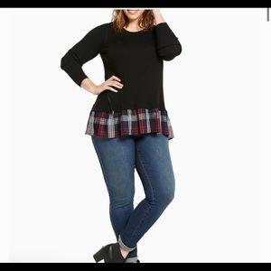 Torrid Ribbed Knit Twofer Plaid Sweater Size 3